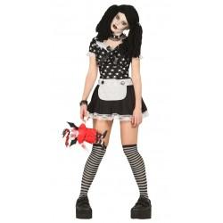 Disfraz muñeca diabolica gotika zombie  talla m