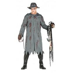 Disfraz asesino del chubasquero similar al pescador