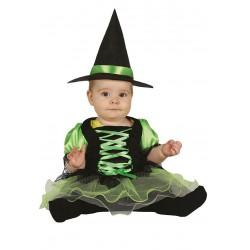 Disfraz de brujita verde con tutu para bebe