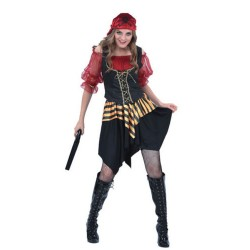 Disfraz pirata rojo para mujer talla l