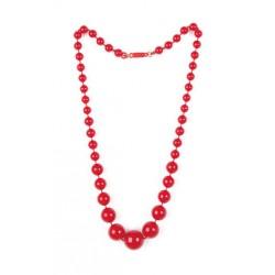 Collar andaluza sevillana rojo de bolas