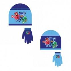 Gorro y guantes invierno pj mask para niño
