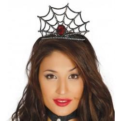Diadema tela de araña con gema roja para halloween barato