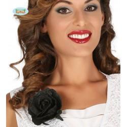 Rosa negra con clip 10 cms