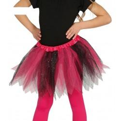 Tutu infantil brillante rosa y negro