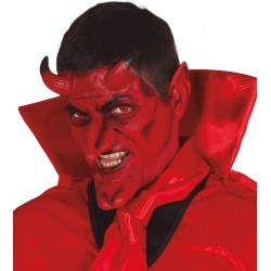 Set demonio latex con adhesivo cuernos nariz orejas menton diablo