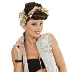 PELUCA PIN UP ROCKABILLY CASTANA CON FOULARD ANOS