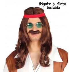 PELUCA HIPPIE CON BIGOTE Y CINTA CASTANA ANOS 60 7