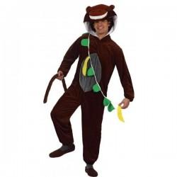 Disfraz mono marron con platano t.2 adulto