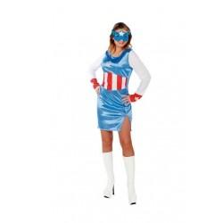 Disfraz capitana azul america m-l mujer 706234
