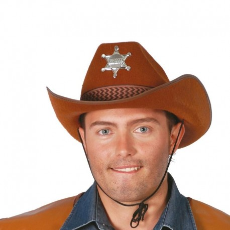 Sombrero sheriff marron de fieltro 13546c gui. Disfraces baratos online f810080541e