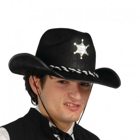 Sombbrero fieltro negro sheriff. Disfraces baratos online 7b3bdf6515e