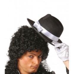 Sombrero rey del pop negro cinta blanca 13506
