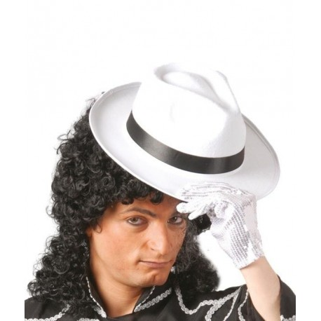 Sombrero rey del pop blanco cinta negra gangster. Disfraces baratos ... 334d6dcdf8f