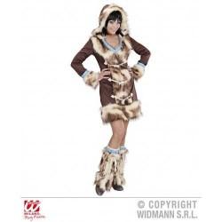 Disfraz esquimal chica lujo marron 02432