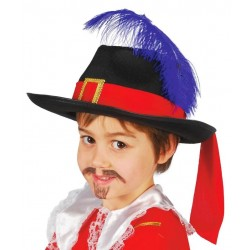 Sombrero mosquetero infantil fieltro negro pluma