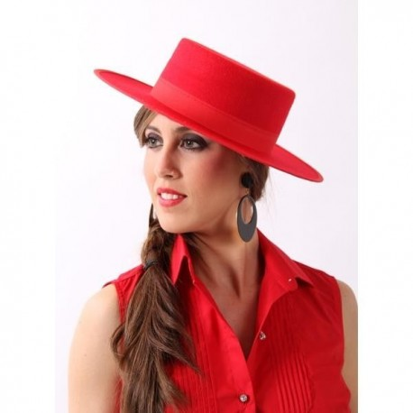 Sombrero cordobes fieltro rojo lujo. Disfraces baratos online f813ca12b7ab