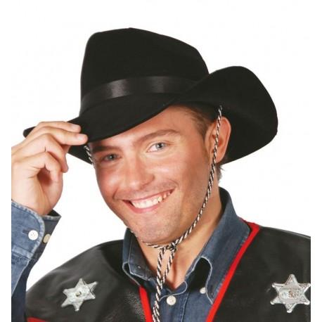Sombrero vaquero flocado negro del oeste 13313. Disfraces baratos online 9eab970e87a