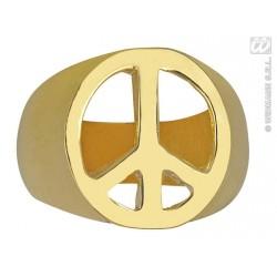 Anillo paz y amor dorado
