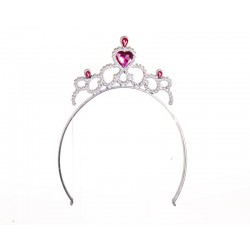 Tiara plateada con 4 piedras rosas princesa