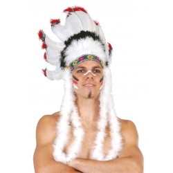 Penacho de plumas  indio grande blanco jefe 13240