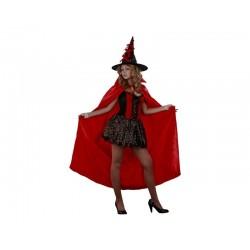 Disfraz bruja roja capa