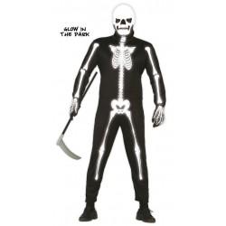Disfraz esqueleto brilla en la oscuridad 80906