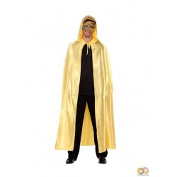 Capa oro con capucha veneciana o halloween adulto