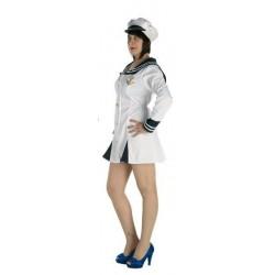 Disfraz marinera blanca raso para mujer adulto