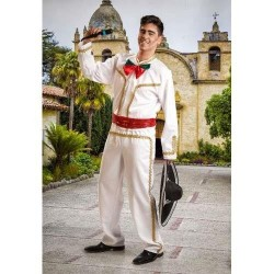 Disfraz mejicano blanco mariachi cantante adulto