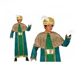 Disfraz rey mago baltasar verde adulto talla unica