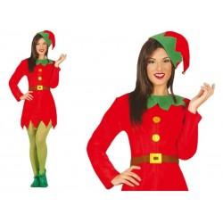 Disfraz elfa roja ayudante de santa talla m 38-40