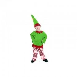 Disfraz gnomo verde rayas rojas talla 10-12