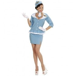 Disfraz azafata de vuelo retro azul talla l