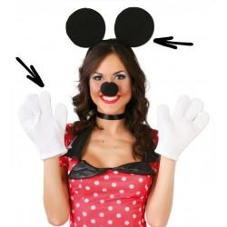 Conjunto raton guantes nariz y diadema ratoncita