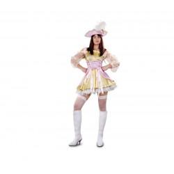 Disfraz moza pirata oro y rosa mujer adulto