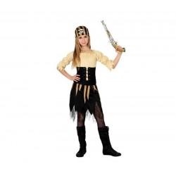 Disfraz pirata niña 5-6 años rayas marrones 15981