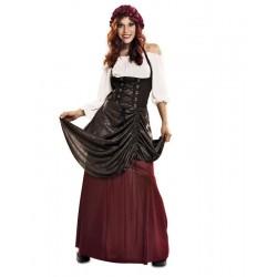 Disfraz tabernera medieval m-l adulta aldeana