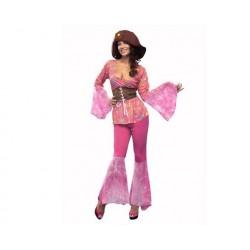 Disfraz chica floral psicodelica hippie talla m-l