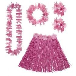 Set hawai rosa falda cinturon collar corona y puls