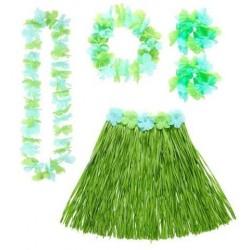 Set hawai verde falda cinturon collar corona y pul