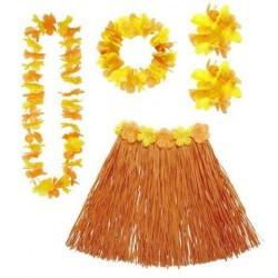 Set hawai naranja falda cinturon collar corona y p