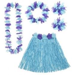 Set hawai azul falda cinturon collar corona y puls