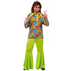 Disfraz hippie verde flower power 80631 gui