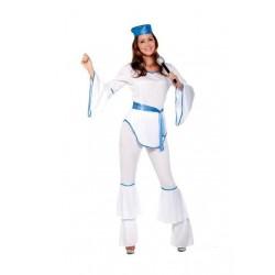 Disfraz chica disco años 80 abba m-l blanco azul