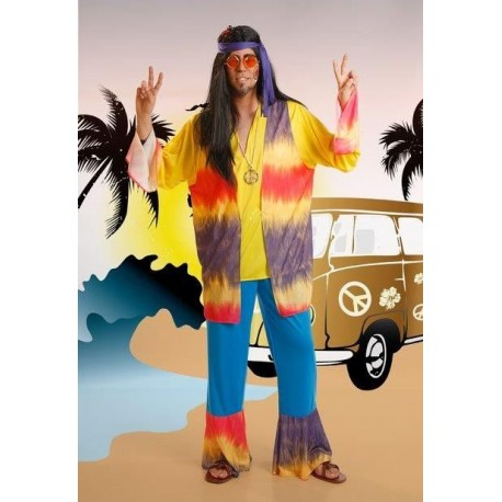 9e6933f841 Disfraz de hippie hombre hippy años 60 70 psicodelico para adulto ...