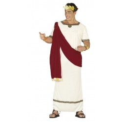 Disfraz cesar augusto romano blanco y rojo emperad
