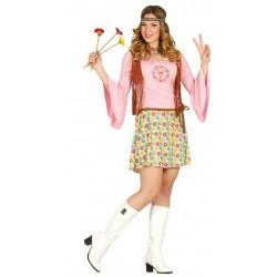 Disfraz hippie mujer dulce talla m años 60 70