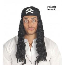 Peluca pirata con pañuelo calavera rizos negra