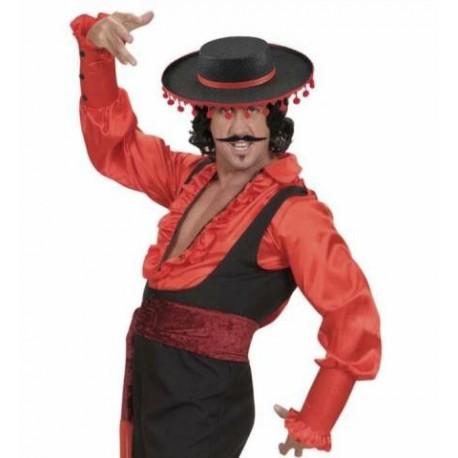 Sombrero flamenco cordobes negro con borlas rojas. Disfraces baratos ... 24e6c1a03897